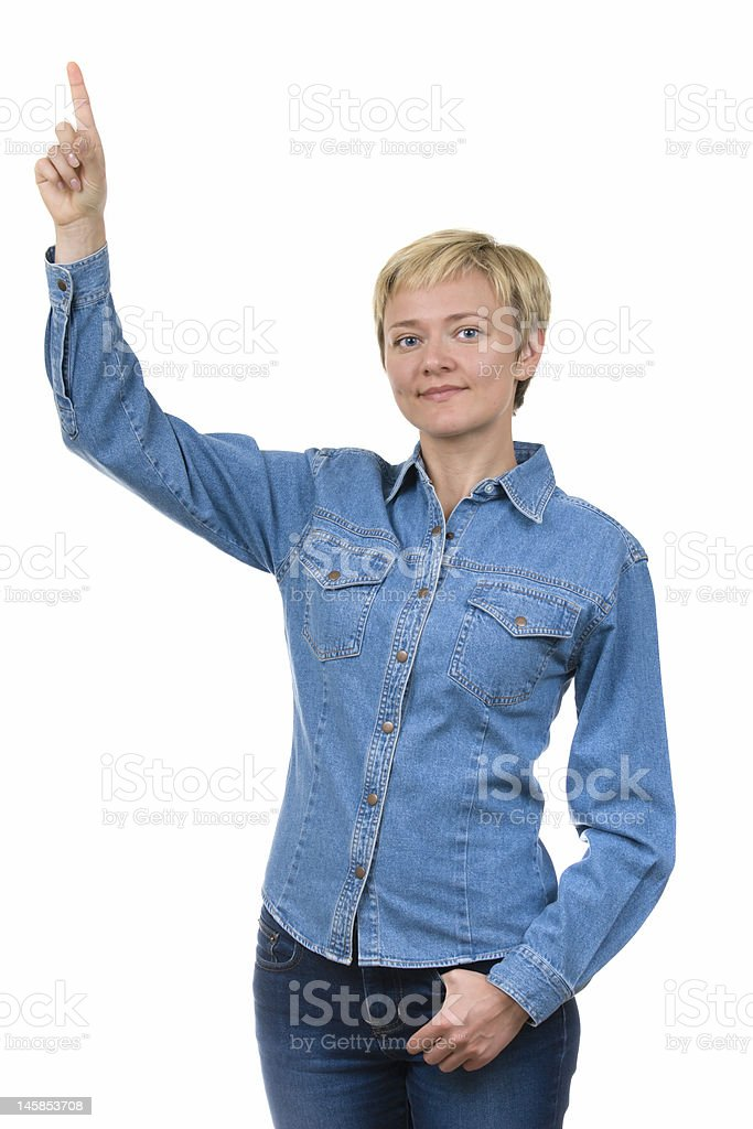 Young woman pointing up over white royalty-free stock photo