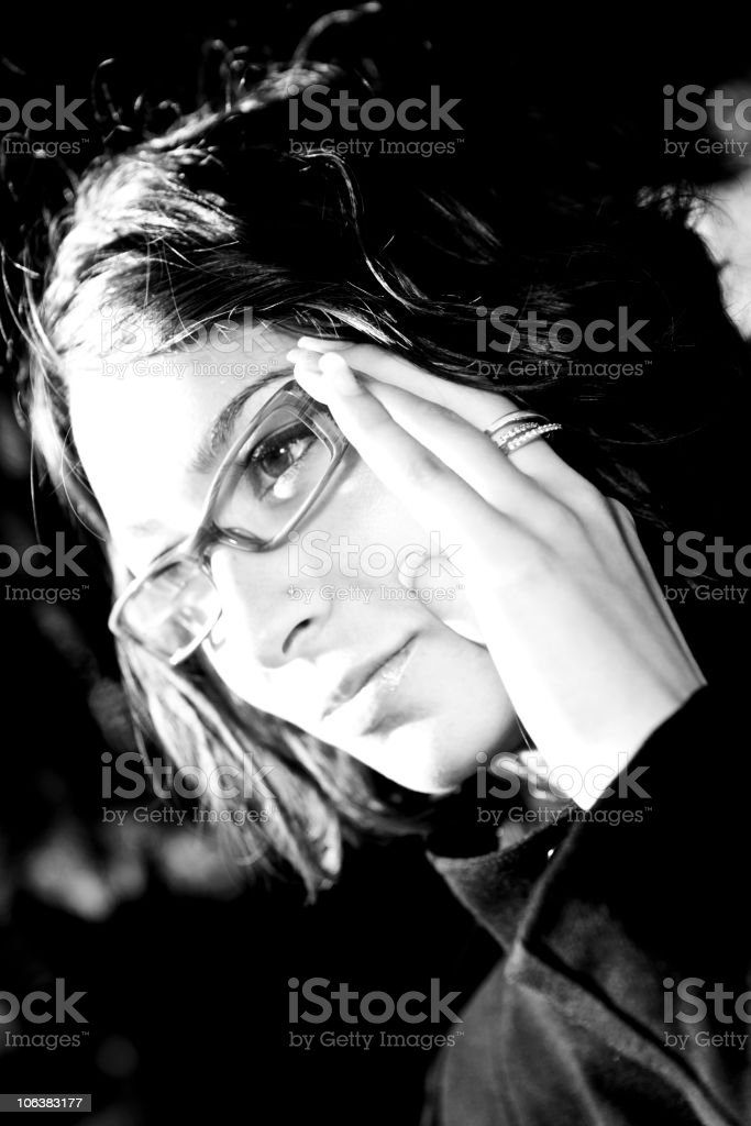 Young Woman Portrait, Black and White royalty-free stock photo