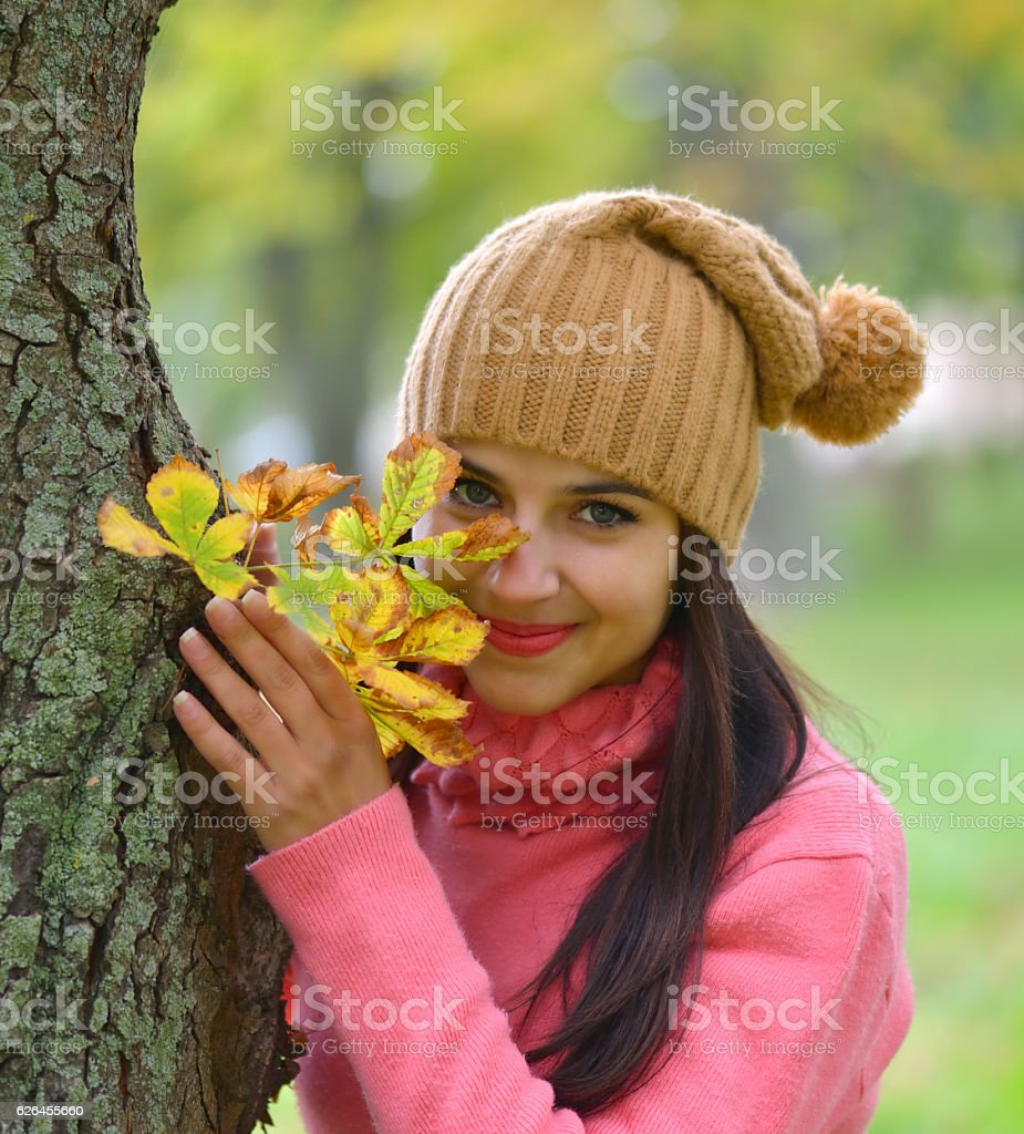 young woman portrait in autumn color stock photo