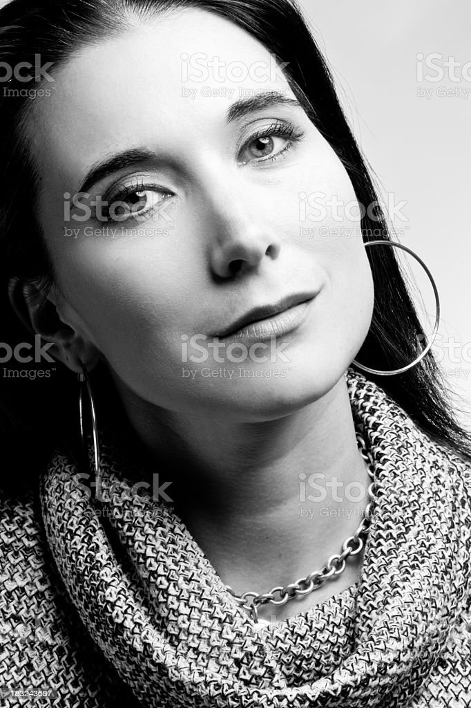 Young Woman Portrait in Black and White stock photo