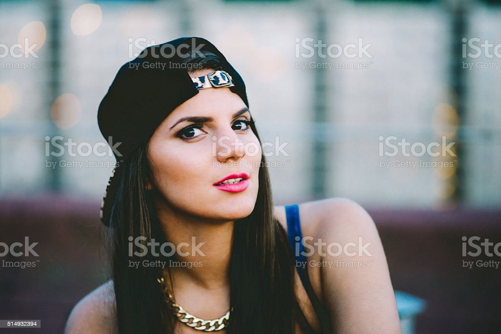 Young woman portrait in the roof stock photo