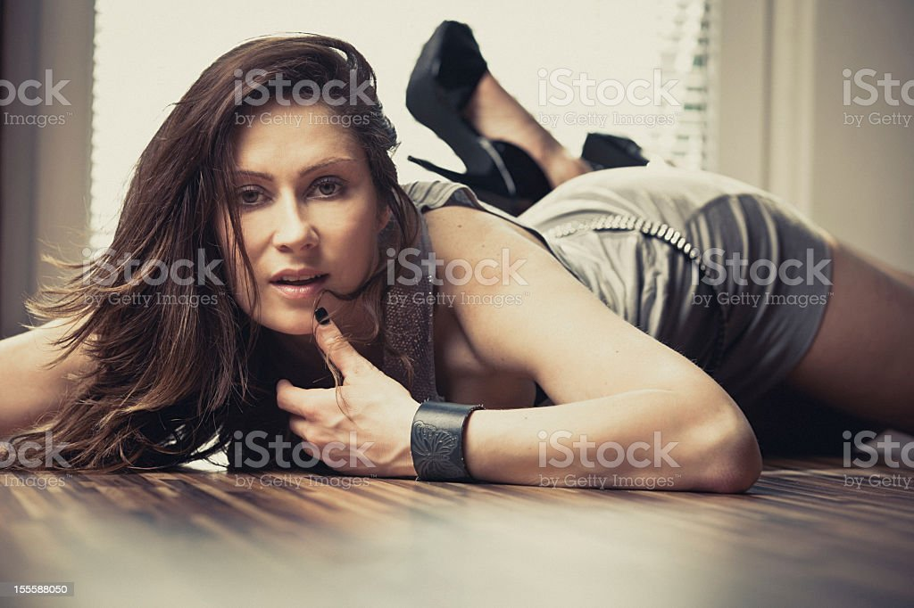 Young woman portrait indoors royalty-free stock photo