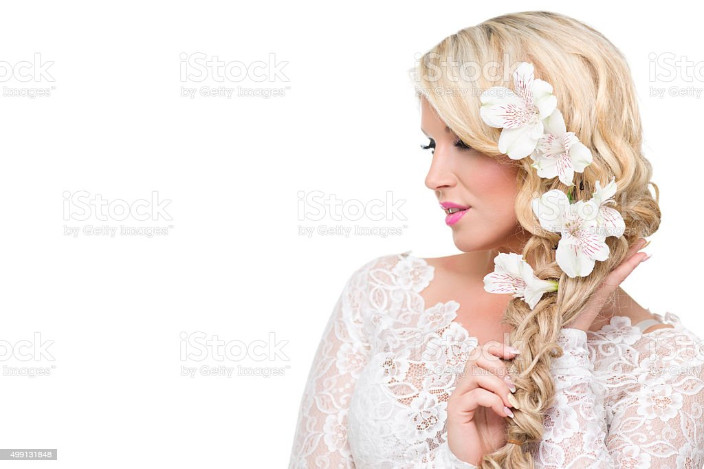 Young woman portrait with beautiful blond hair stock photo