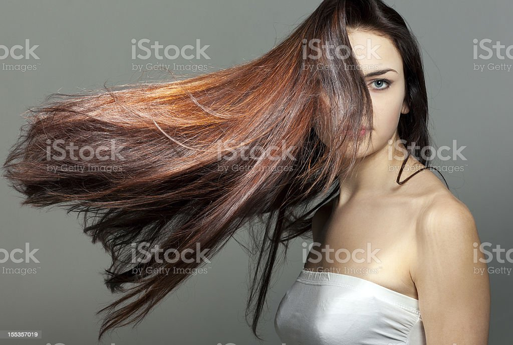 Young woman portrait with beautiful hair stock photo