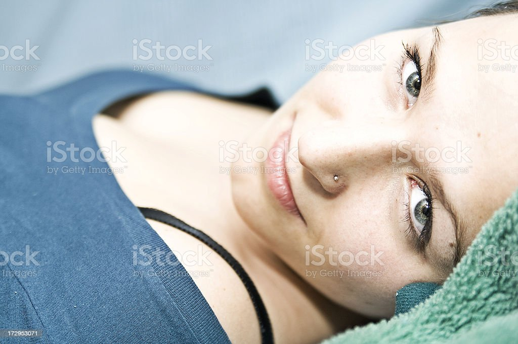 Young woman portrait with nose piercing stock photo