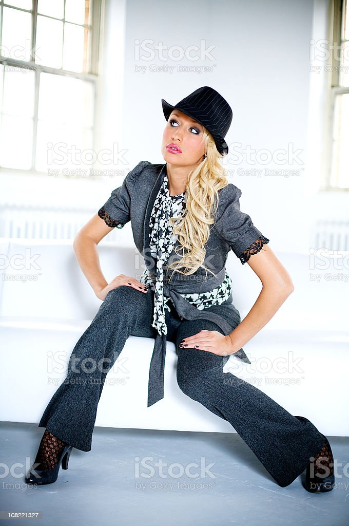 Young Woman Posing and sitting stock photo