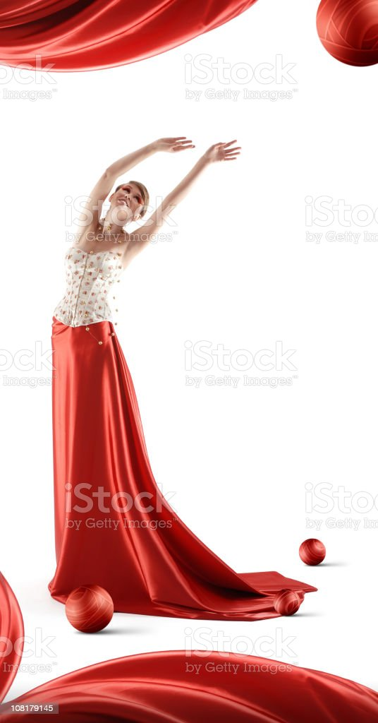 Young Woman Posing and Wearing Long Red Skirt royalty-free stock photo