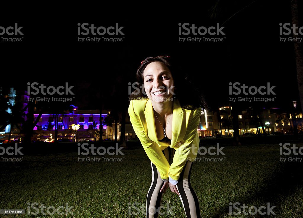 Young Woman posing on South Beach in Miami royalty-free stock photo