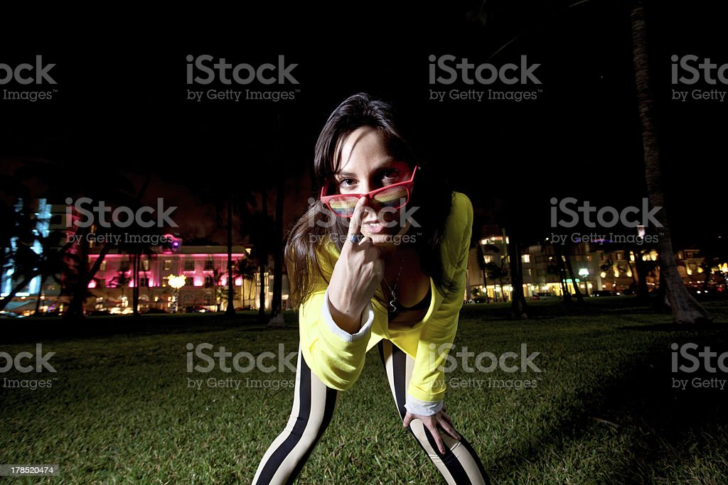 Young Woman posing on South Beach in Miami stock photo