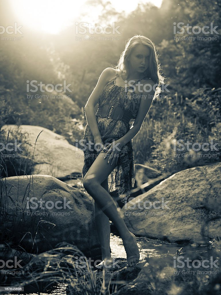 Young woman posing under the direct sunset light stock photo