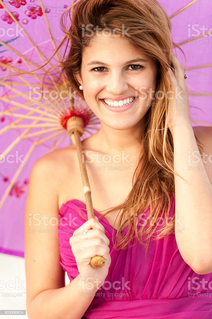 young woman posing with umbrella stock photo