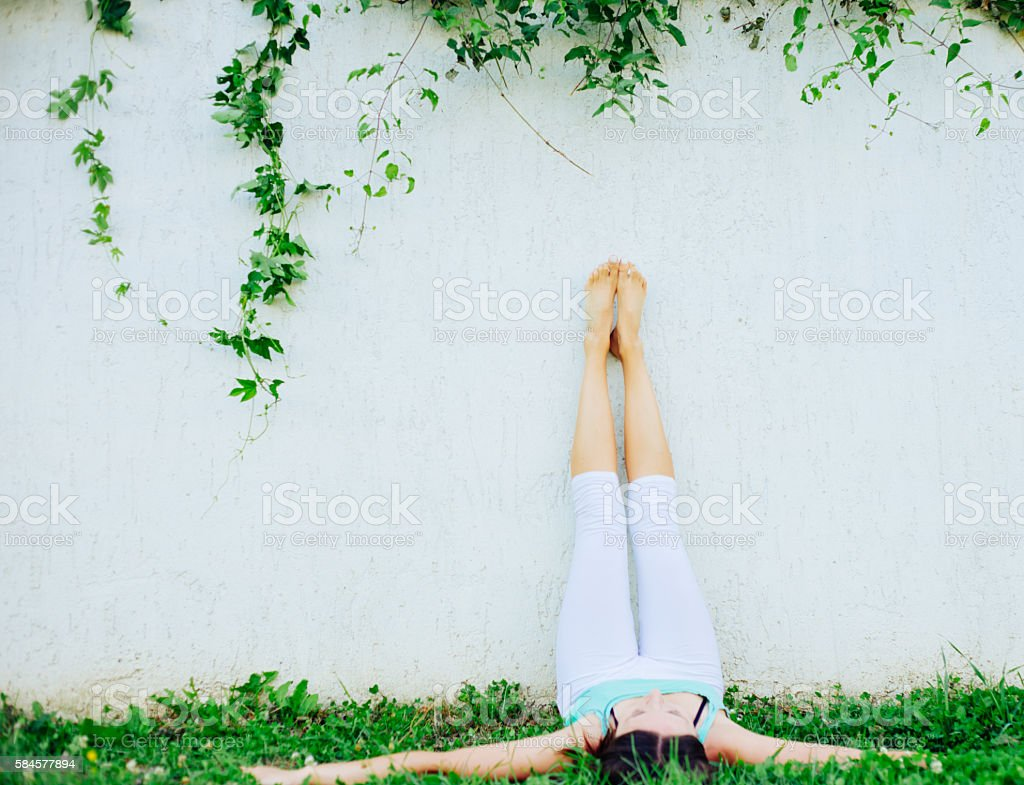 Young woman practicing morning meditation stock photo