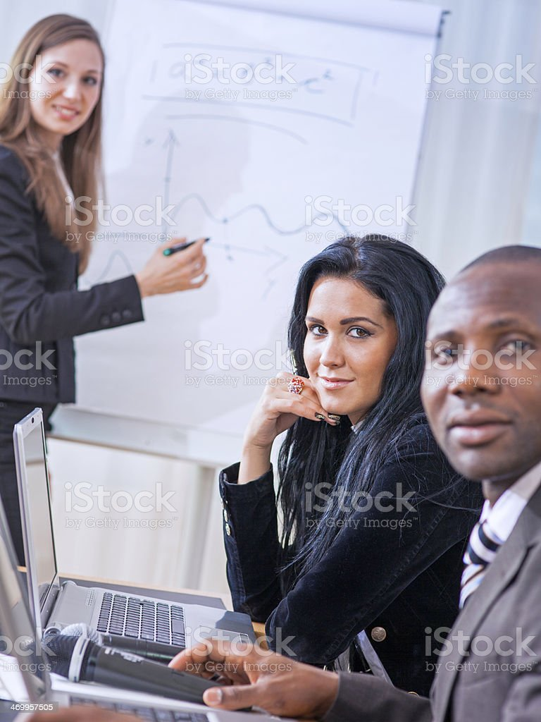 Young Woman Presenting  Her Ideas on Flip Chart royalty-free stock photo