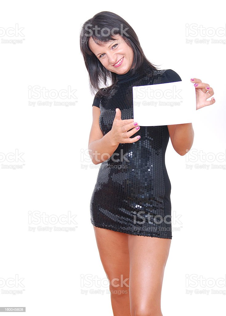 young woman presenting white card stock photo