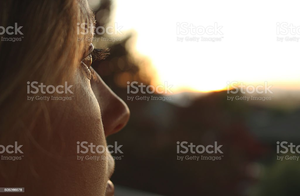 Young Woman Profile Close up stock photo