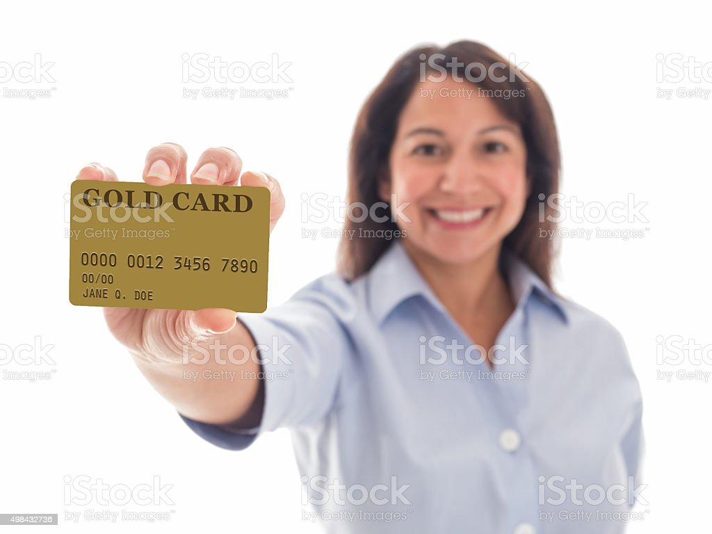 Young Woman Proudly Displays her Gold Card stock photo