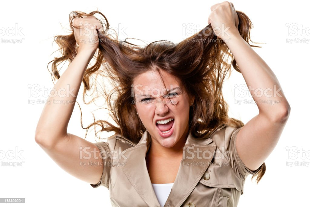 Young Woman Pulling Out Hair royalty-free stock photo
