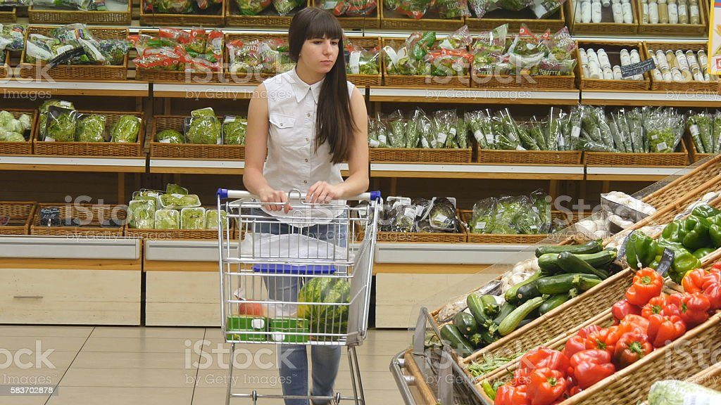Young woman pushing cart along the grocery aisles in the stock photo