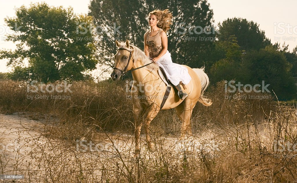 Young woman racing on horse (motion blur) stock photo