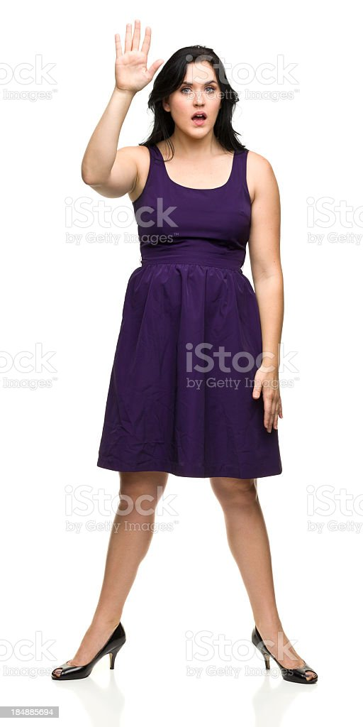Young Woman Raises Hand in Question royalty-free stock photo