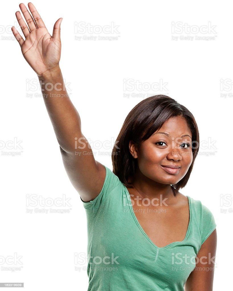 Young Woman Raises Her Hand royalty-free stock photo