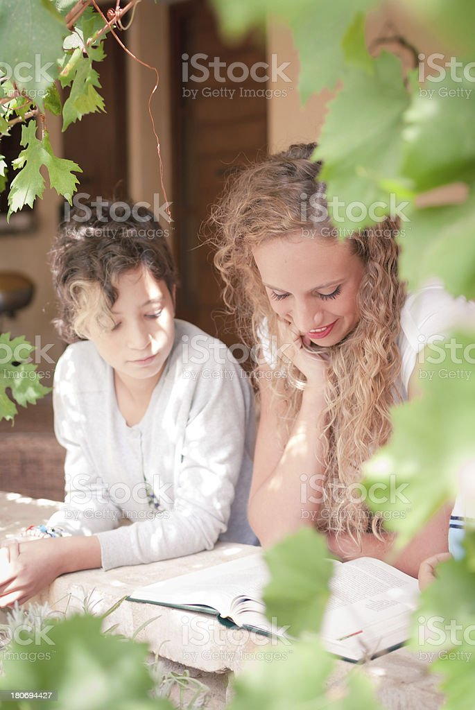 Young woman reading a book to two children outdoor. stock photo