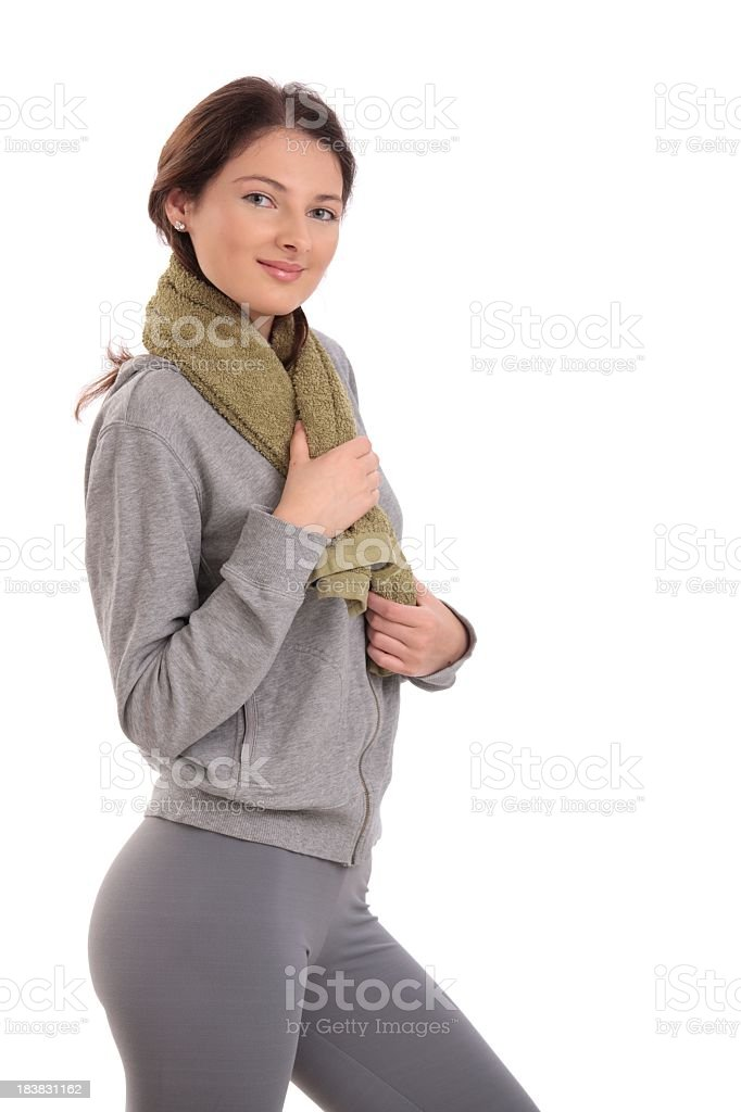 Young woman ready for workout royalty-free stock photo