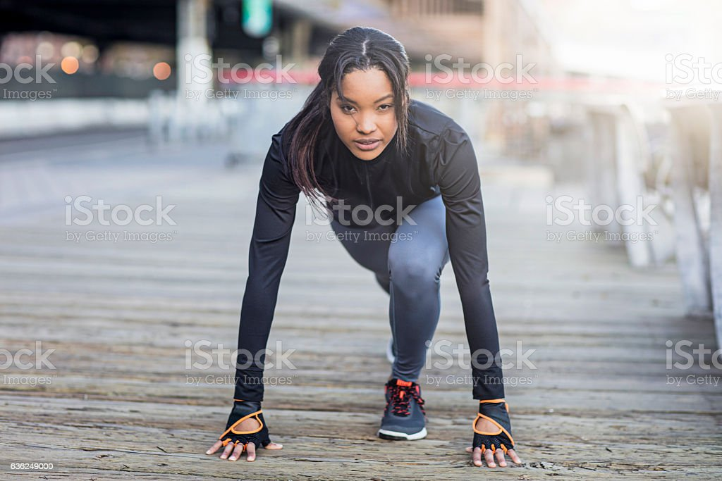 Young woman ready to start morning run stock photo