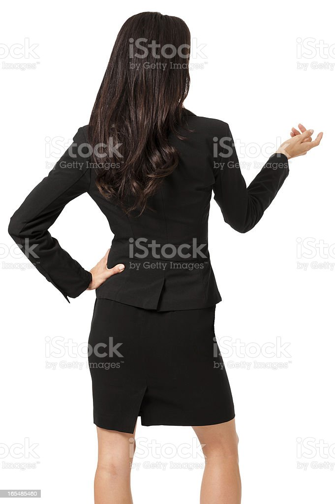 Young Woman Rear View Gesturing Isolated on White Background royalty-free stock photo