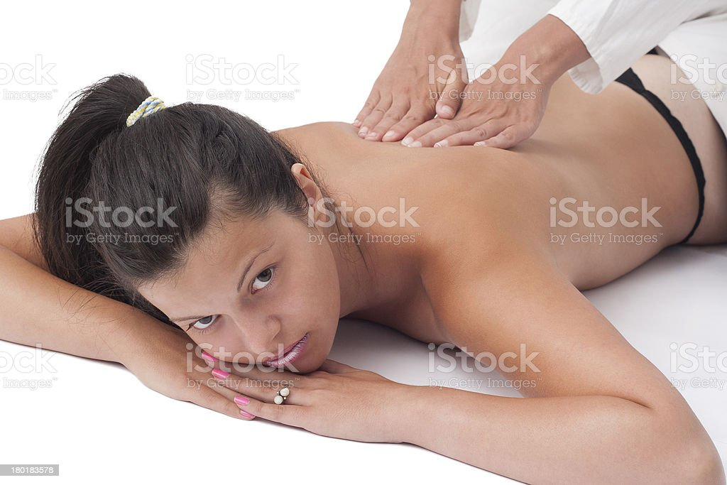 young woman receiving royalty-free stock photo