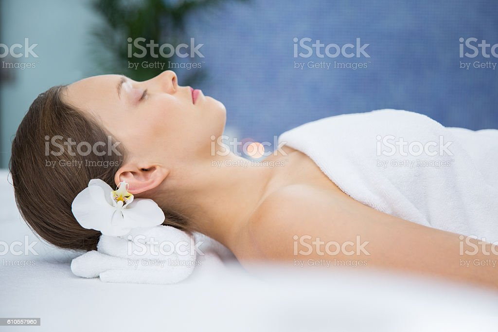 Young Woman Relaxing after Spa Treatment stock photo