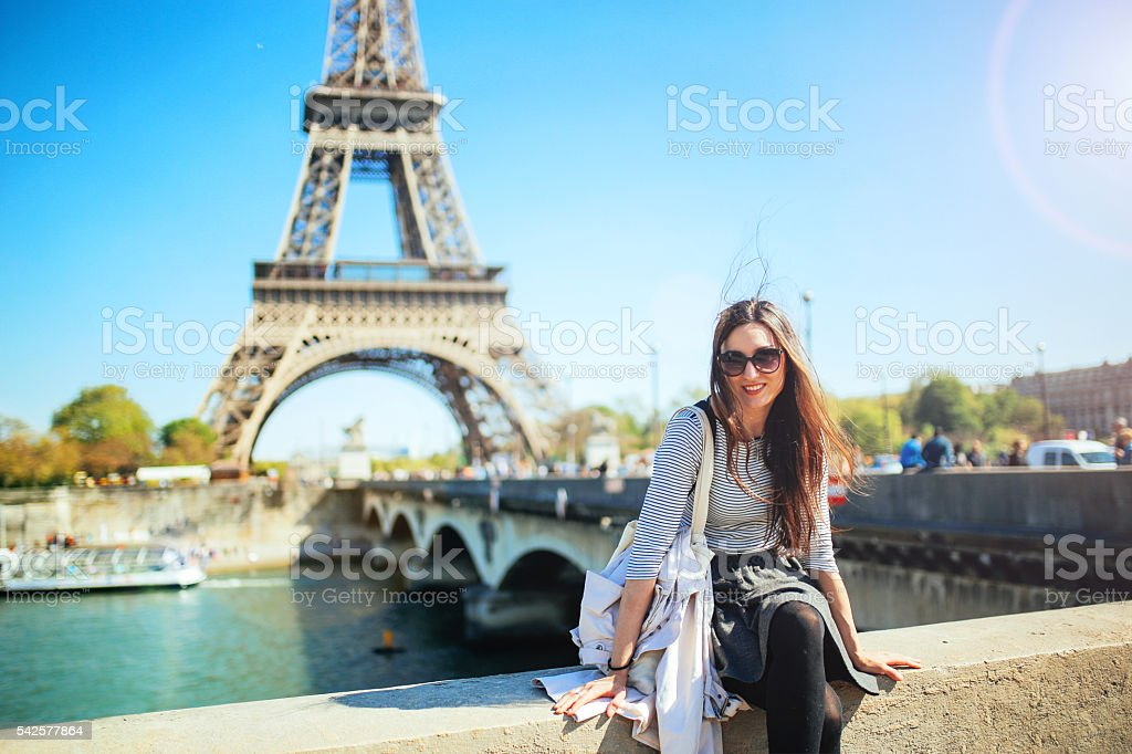Young woman relaxing in Paris stock photo