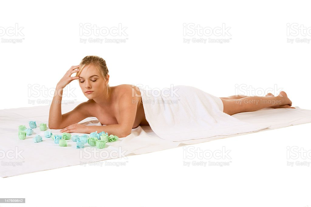 Young woman relaxing in spa royalty-free stock photo