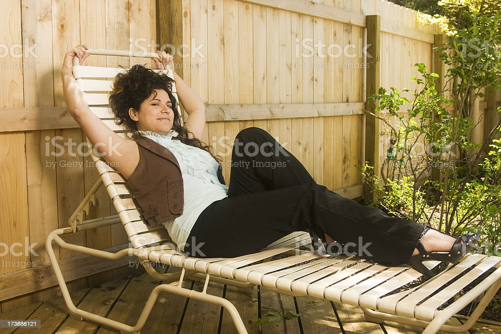 young woman relaxing outdoors royalty-free stock photo