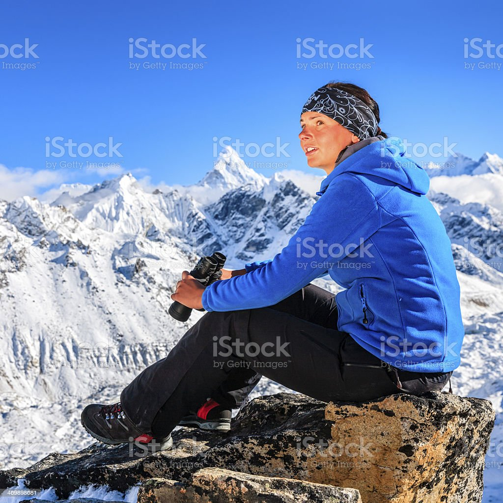 Young woman resting in Mount Everest National Park, Nepal Himalayas royalty-free stock photo
