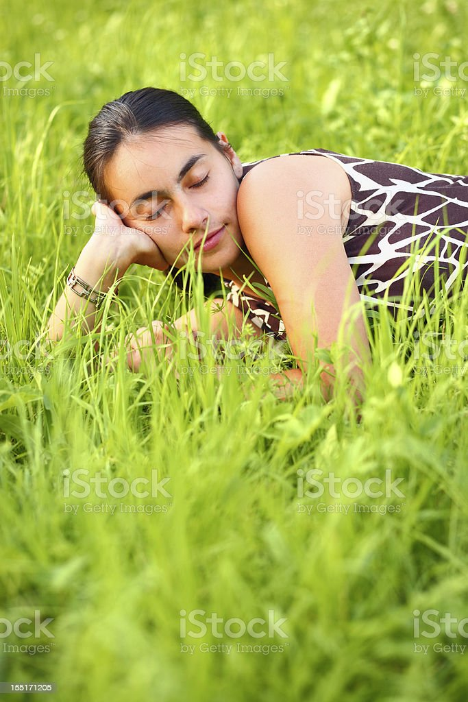 Young woman resting stock photo