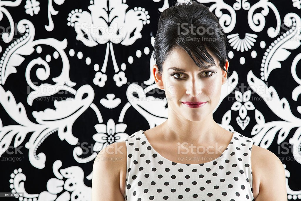 Young woman retro style royalty-free stock photo