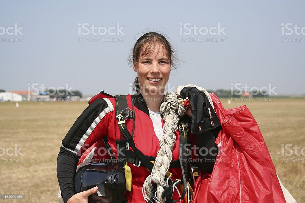 Young woman returns from the sky royalty-free stock photo