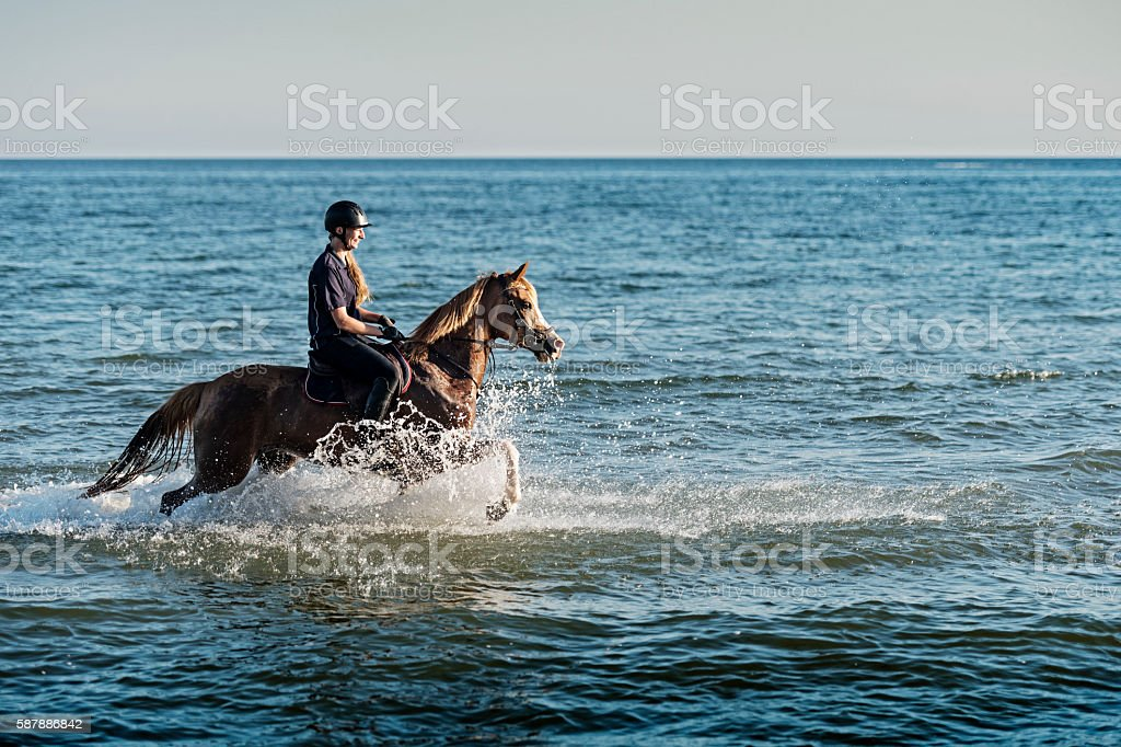 Young Woman Riding Her Horse on the Beach stock photo