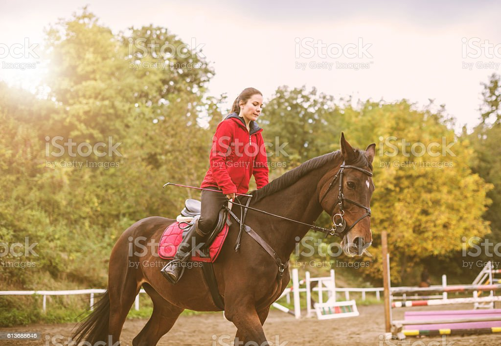 Young woman riding horse in gallop stock photo