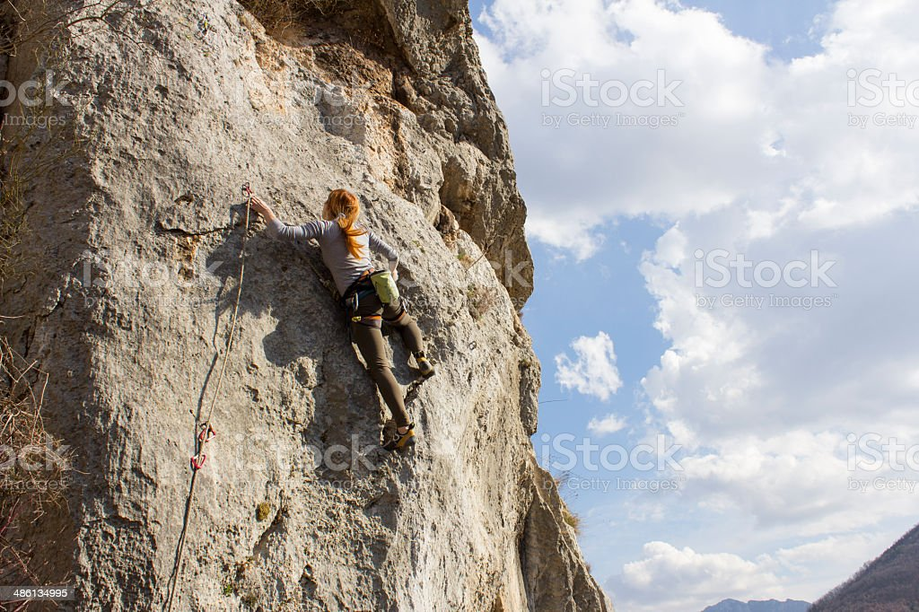 Young woman rockclimber royalty-free stock photo