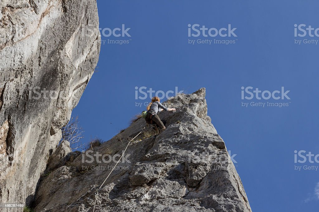 Young woman rockclimber royalty-free stock photo