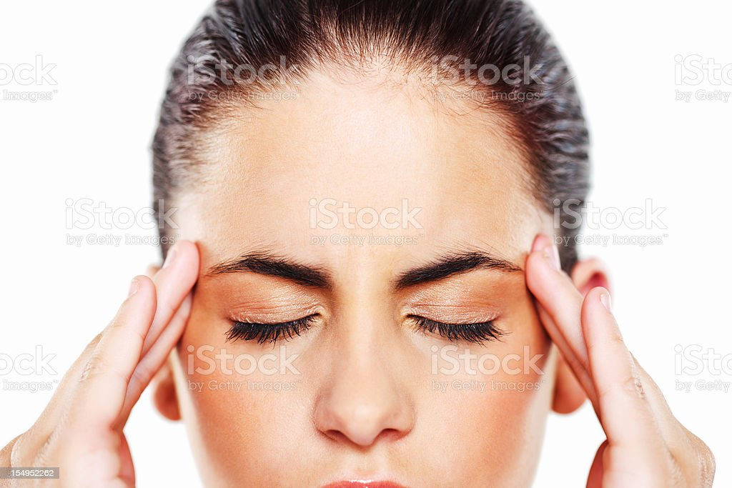 Young Woman Rubbing Her Temples royalty-free stock photo