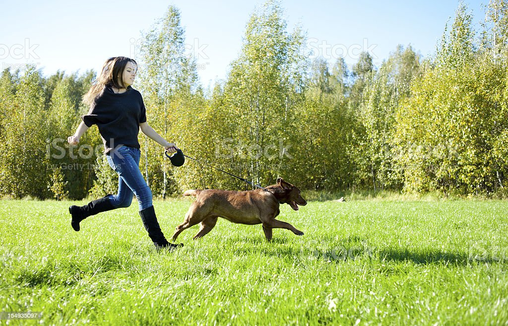 Young woman running with Labrador in grass royalty-free stock photo