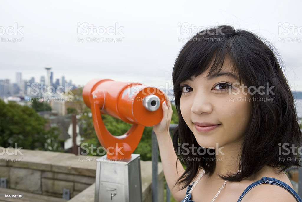 Young Woman Searching For Love In Seattle stock photo