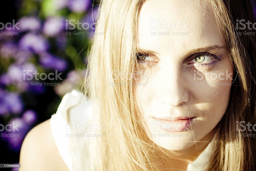 young woman serious portrait stock photo