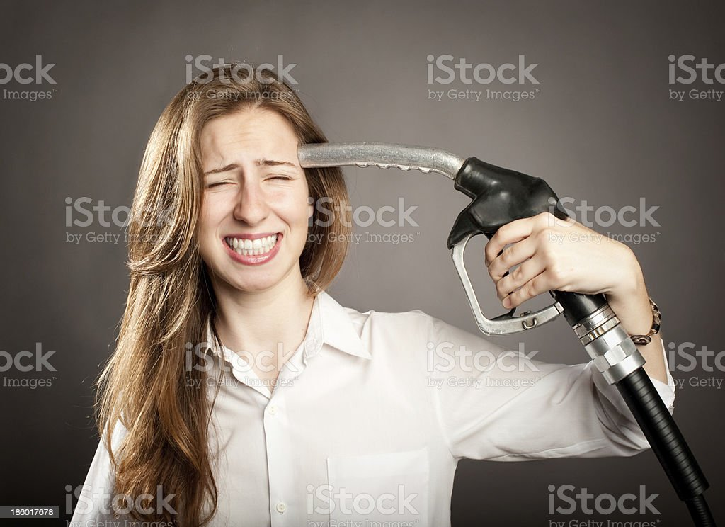 young woman shooting herself royalty-free stock photo