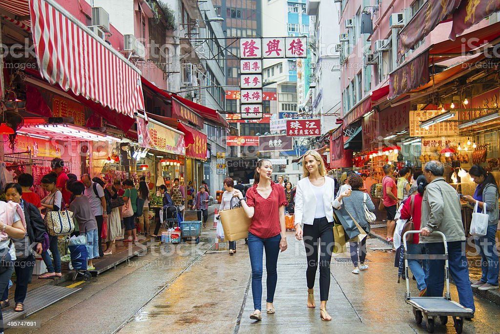 Young Woman Shopping in Hong Kong stock photo