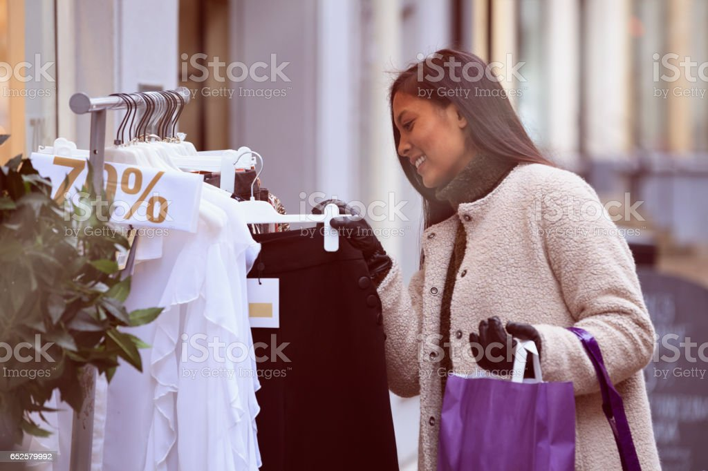 Young woman shopping in Malmo stock photo