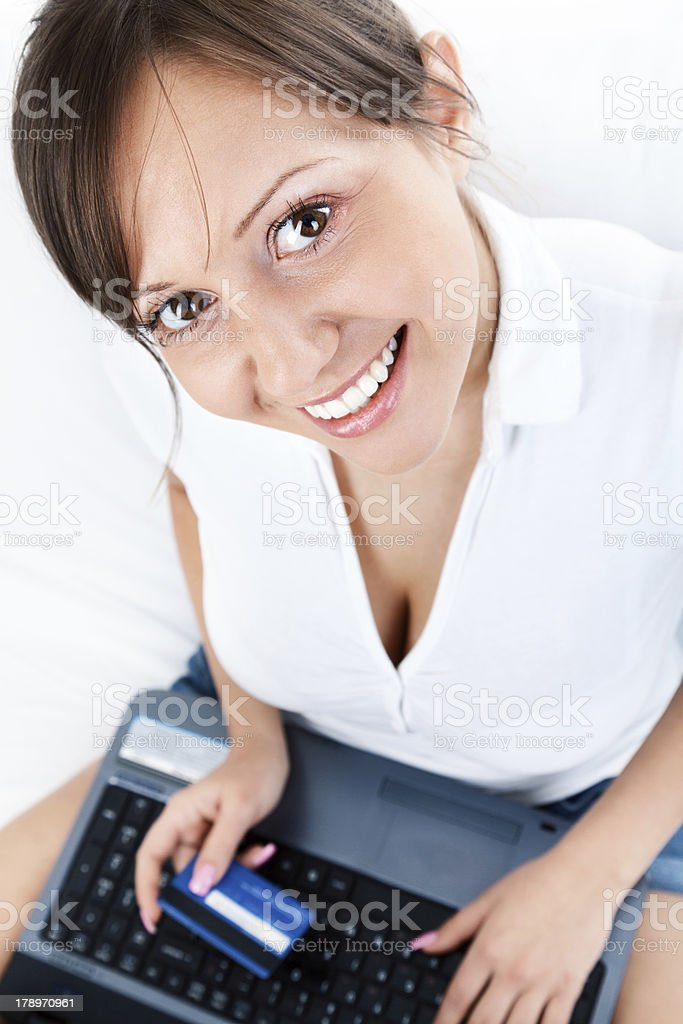 Young woman shopping online royalty-free stock photo